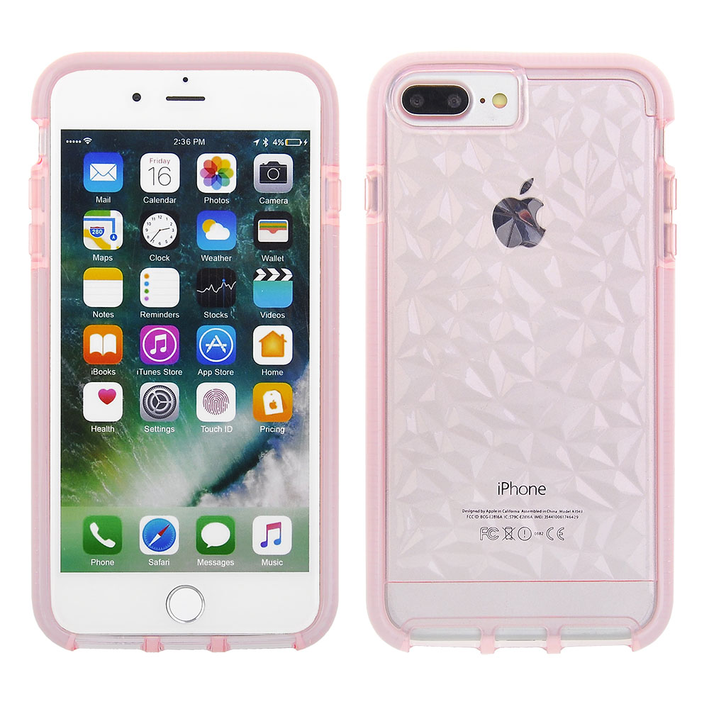 f272c0f41a Cube Apple iPhone 8 Plus / iPhone 7 Plus / iPhone 6s Plus / iPhone 6 Plus -  Scratch-Proof and Shock Resistant Clear Light Pink Rock Textured TPU Cover  with ...